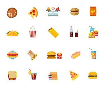 Conjunto de ícones de alimentos gordurosos