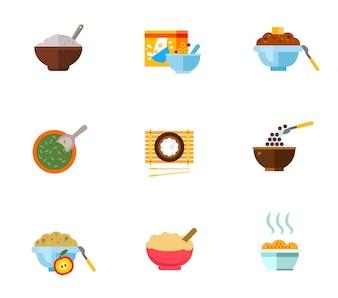 Conjunto de ícones de café da manhã saudável