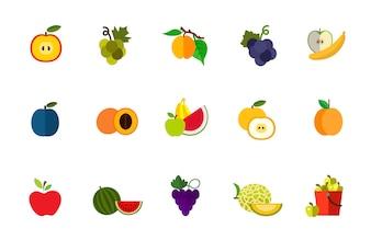 Conjunto de ícones de colheita de frutas