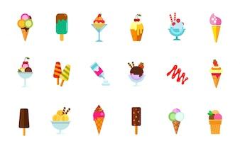 Conjunto de ícones de comida doce