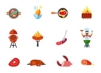 Conjunto de ícones de comida frita