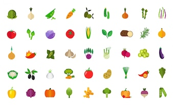 Conjunto de ícones de comida vegana