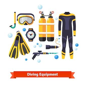 Conjunto de ícones de equipamentos de mergulho configurados