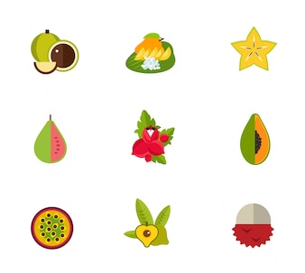 Conjunto de ícones de frutas tropicais
