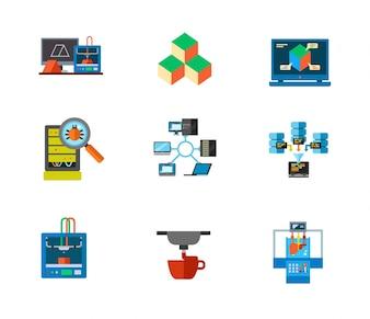Conjunto de ícones de impressão em 3D e ícone de data center