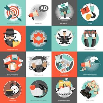 Conjunto de ícones de negócios e gerenciamento