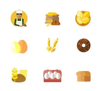 Conjunto de ícones de padaria