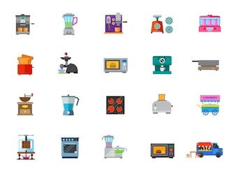 Conjunto de ícones de utensílios de cozinha