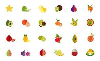 Conjunto de ícones de variedade de frutas