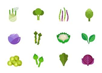 Conjunto de ícones de vegetais