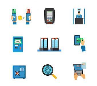 Conjunto de ícones do serviço bancário
