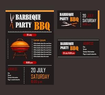 Conjunto de ilustrações vetoriais de um modelo de menu de churrasco, cartão de convite em um churrasco, certificado de presente