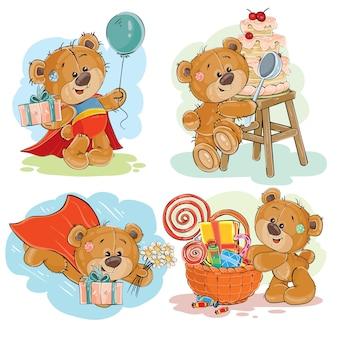 Conjunto de ilustrações vetoriais de vetores de urso de peluche marrom deseja-lhe um feliz aniversário.