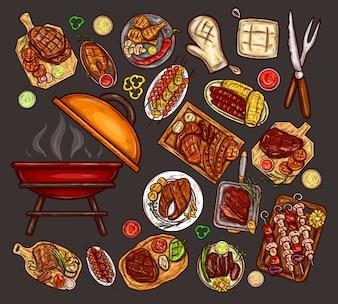 Conjunto de ilustrações vetoriais, elementos para churrasco