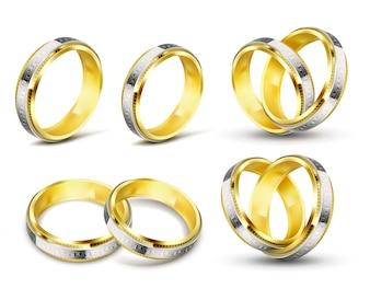 Conjunto de ilustrações vetoriais realistas de anéis de casamento dourados com gravura