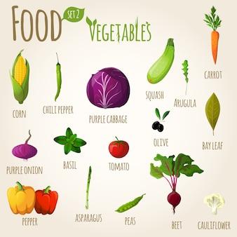 Conjunto de legumes alimentares