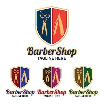 Conjunto de logotipo do barbeiro com espaço de texto para o seu slogan