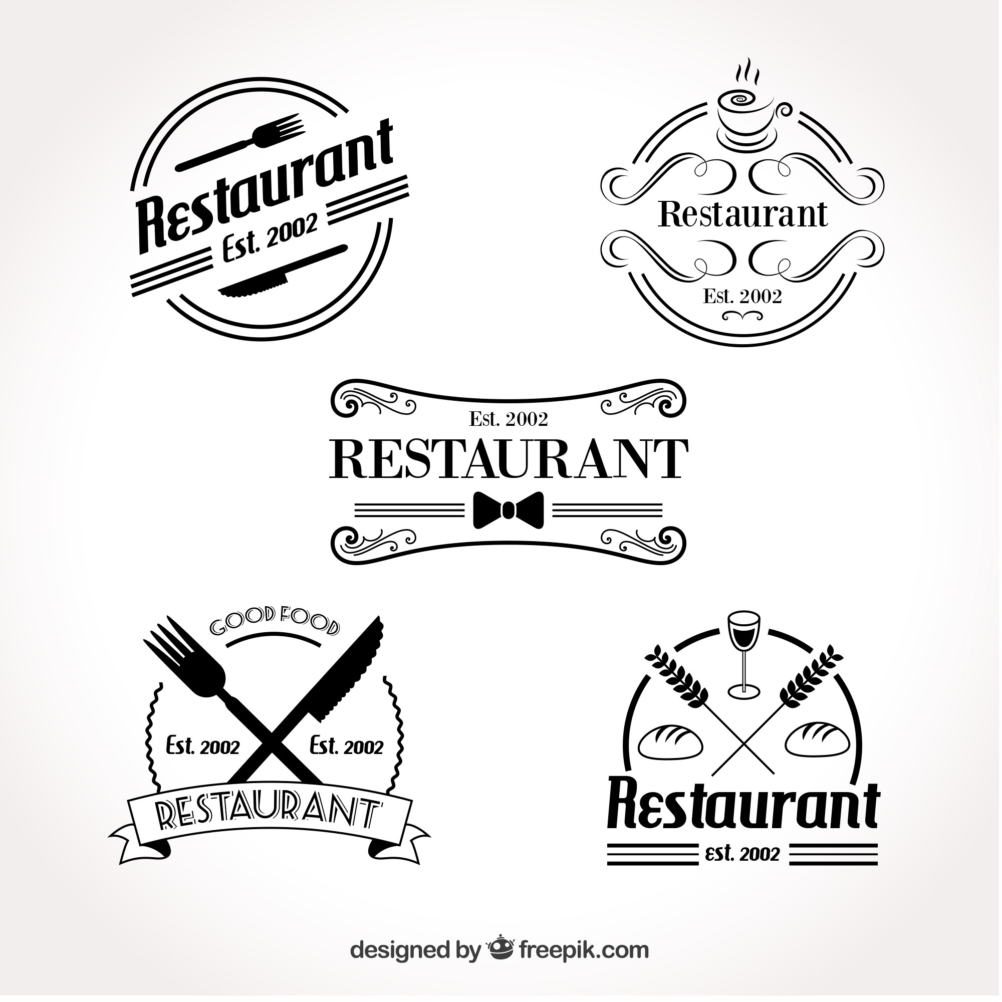 Conjunto de logotipo retro do restaurante