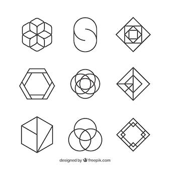 Conjunto de logotipos de formas abstratas