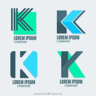 """Conjunto de logotipos de letra """"k"""" modernos"""