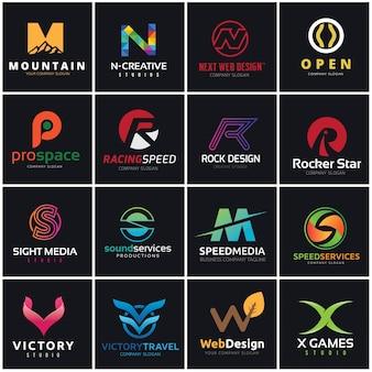 Conjunto de logotipos de letras do alfabeto. Coleção de identidade de marca.