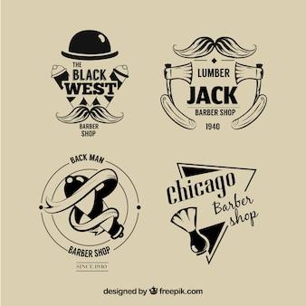 Conjunto de logotipos vintage de barbeiro