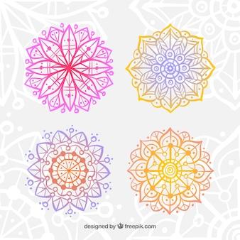 Conjunto de mandalas abstratas coloridas