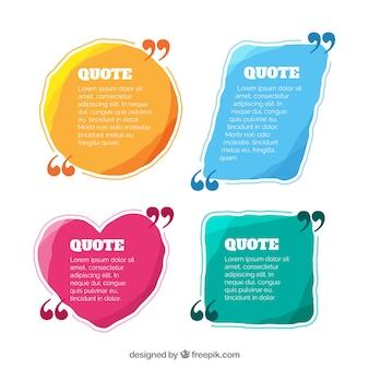 Conjunto de modelos de citações coloridas e de forma