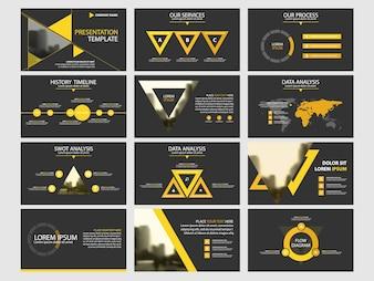 Conjunto de modelos de elementos infográficos de apresentação de negócios, relatório anual modelo de modelo de brochura horizontal corporativa