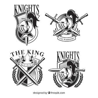 Conjunto de modelos de emblemas de cavaleiro