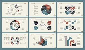 Conjunto de modelos de slide de seis gráficos de gerenciamento