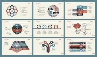 Conjunto de modelos de slide seis gráficos de treinamento