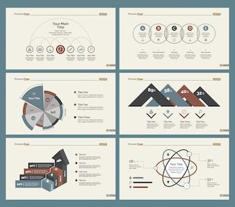 Conjunto de modelos de slide seis gráficos financeiros