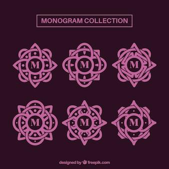 Conjunto de monogramas decorativos rosa