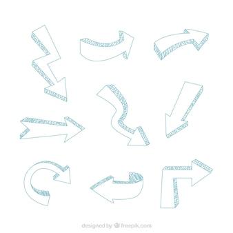 Conjunto de nove setas com diferentes formas