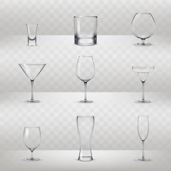 Conjunto de óculos para álcool e outras bebidas