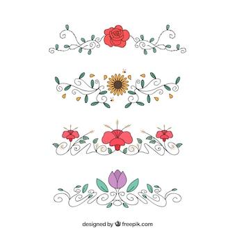 Conjunto de ornamentos florais desenhados à mão