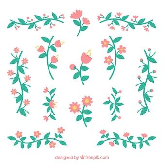Conjunto de ornamentos florais vintage