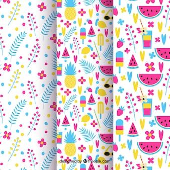 Conjunto de padrões coloridos de flores e frutas