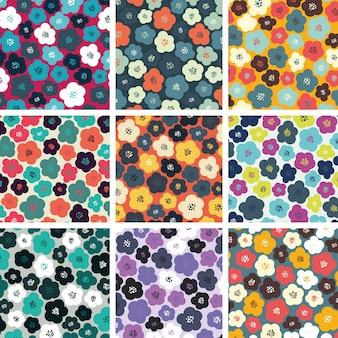 Conjunto de padrões coloridos de flores sem costura. Fundo abstrato do vetor. Papel de parede floral.