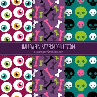 Conjunto de padrões coloridos de Halloween