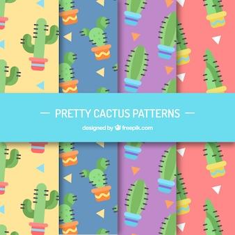 Conjunto de padrões de cactos em design plano