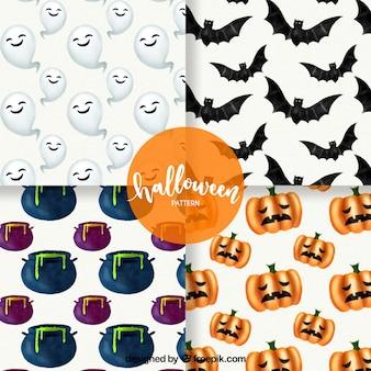 Conjunto de padrões de Halloween com elementos de aquarela