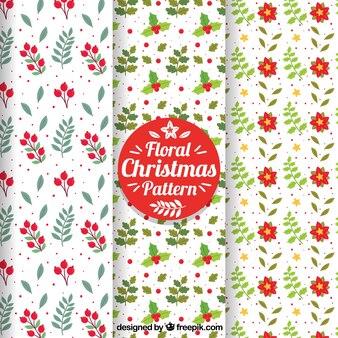 Conjunto de padrões de natal muito florais