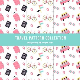 Conjunto de padrões de viagem agradáveis em design plano