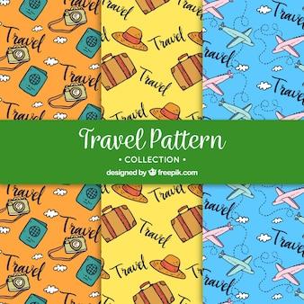 Conjunto de padrões de viagem desenhados à mão