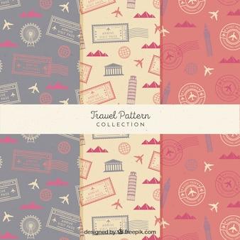 Conjunto de padrões de viagem vintage