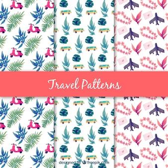 Conjunto de padrões decorativos agradáveis de aquarela