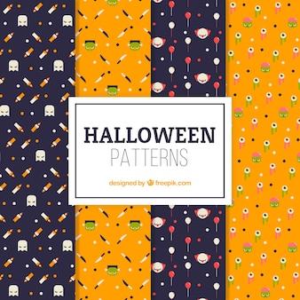 Conjunto de padrões decorativos agradáveis de halloween em design plano
