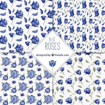 Conjunto de padrões decorativos com rosas azuis